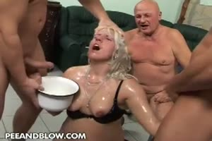 Street whore gangbanged and pissed on