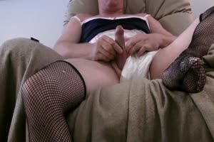 fishnets diaper and blue camisole