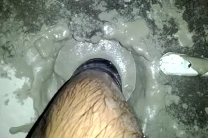 foot in cement