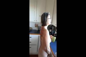 Crazy Mom Decides to Piss On Kitchen Floor