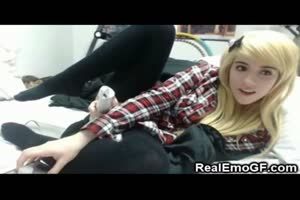 Little Emo Teen GF Plays with a Vibrator!