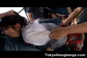 Helpless Asian Teens Gangbanged In Bus