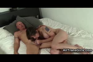 Grandpa Fucks Hot Amateur Shemale!