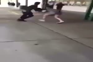 Girl Beats Up Boy in School Fight